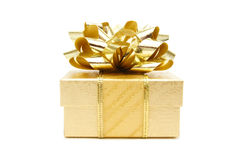 Gold Christmas gift Stock Photography
