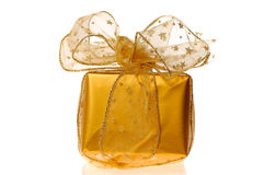 Gold christmas gift Royalty Free Stock Image