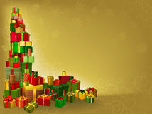 Gold Christmas gift background Stock Photography
