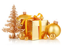 Gold christmas gift with balls Stock Photo