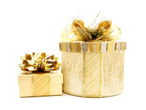 Gold Christmas gift boxes Stock Image