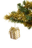 Gold christmas gift on branch Stock Photography