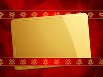 Gold Christmas gift card on a red background Royalty Free Stock Photography