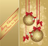 Gold christmas greeting card Royalty Free Stock Image