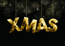 Gold Christmas greeting card design in low poly Royalty Free Stock Photos
