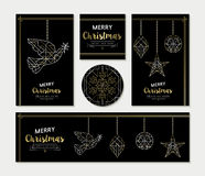Gold Christmas greeting card template set Royalty Free Stock Images