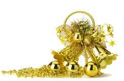 Gold christmas handbell. Isolated on white background Stock Image
