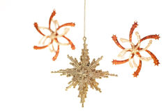Gold Christmas hanging stars ornament Royalty Free Stock Images