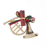 Gold Christmas Horn Ornament Stock Photo