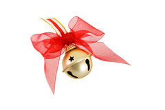 Free Gold Christmas Jingle Bell With Red Bow Stock Photos - 26258523