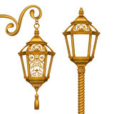 Gold Christmas lanterns clip art illustration, vintage design elements set Royalty Free Stock Photography