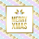 Gold Christmas lettering design with mistletoe Stock Photos