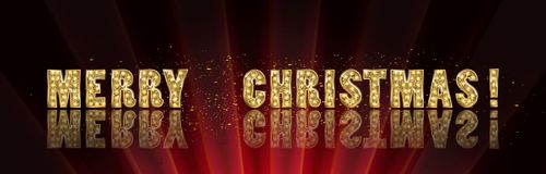 Gold Christmas and New Year banner. With light bulbs. Christmas and new year background for design for banners, flyers, Invitations, cards. On a dark background Stock Photos
