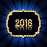 Gold Christmas and New Year banner Royalty Free Stock Image
