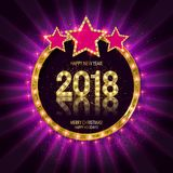 Gold Christmas and New Year banner Royalty Free Stock Photo