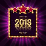 Gold Christmas and New Year banner Royalty Free Stock Photos
