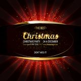 Gold Christmas and New Year banner. With light bulbs. Christmas and new year background for design for banners, flyers, Invitations, cards. On a dark background Stock Images