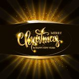 Gold Christmas and New Year banner. With light bulbs. Christmas and new year background for design for banners, flyers, Invitations, cards. On a dark background Stock Photography