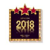 Gold Christmas and New Year banner. With light bulbs. Christmas and new year background for design for banners, flyers, Invitations, cards. On a white Stock Photography