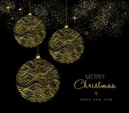 Gold Christmas and New Year bauble ornament Stock Photo