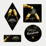Gold christmas and new year greeting card set Stock Image