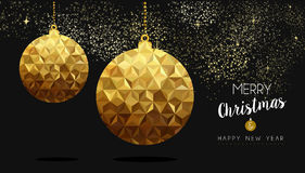 Gold Christmas and New Year low poly bauble Stock Images