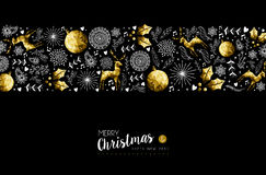 Gold Christmas and New Year ornament pattern. Merry Christmas and Happy New Year gold low poly pattern decoration with deer, nature and holiday ornaments. EPS10 stock illustration