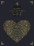Gold Christmas and new year ornamental heart art Royalty Free Stock Image
