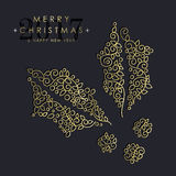 Gold Christmas and new year ornamental mistletoe Royalty Free Stock Photography