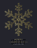 Gold Christmas and new year ornamental snowflake Royalty Free Stock Photo