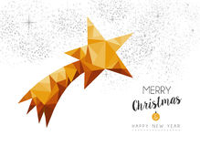 Gold Christmas new year star ornament in low poly Royalty Free Stock Photography