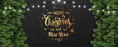 Gold Christmas and New Year Typographical on dark background with fir branches, lights, Xmas decorations glowing white garlands. Christmas theme. Vector royalty free illustration