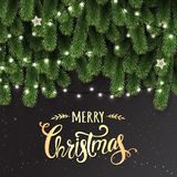 Gold Christmas and New Year Typographical on dark background with fir branches, lights, Xmas decorations glowing white garlands. Christmas theme. Vector vector illustration