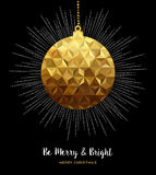 Gold Christmas ornament bauble in low poly style. Gold Merry Christmas design, elegant xmas bauble ornament decoration in low poly style. EPS10 vector Royalty Free Stock Image