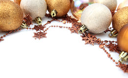 Gold Christmas ornament border Stock Photo