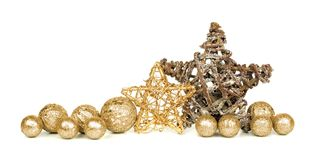 Gold Christmas ornament border Stock Photography