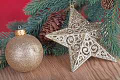 Gold Christmas Ornaments Royalty Free Stock Image