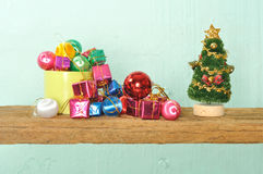 Gold christmas ornaments on gold background Stock Image