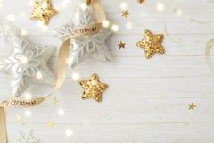 Christmas ornaments. Gold christmas ornaments, seasonal decoration royalty free stock photography