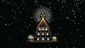 Gold Christmas outline pine tree card animation stock footage
