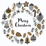 Gold Christmas patterns with christmas bells, snowflakes, candy Holly jolly Merry Christmas and Happy New Year Isolated. Gold Christmas pattern with christmas Royalty Free Stock Photography