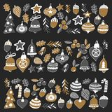 Gold Christmas pattern with christmas bells, snowflakes, candy Holly jolly Merry Christmas and Happy New Year Isolated. Gold Christmas patterns with christmas Stock Photography