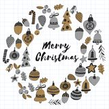 Gold Christmas patterns with christmas bells, snowflakes, candy Holly jolly Merry Christmas and Happy New Year Isolated. Gold Christmas pattern with christmas Royalty Free Stock Photo