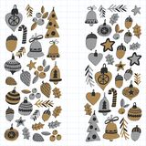 Gold Christmas patterns with christmas bells, snowflakes, candy Holly jolly Merry Christmas and Happy New Year Isolated. Gold Christmas pattern with christmas Stock Photography