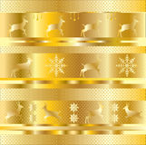 Gold Christmas pattern. With winter holiday elements gold strips and reindeer, snowflake, small polka dots on gold background. Vector file with layers. Digital Royalty Free Stock Photo