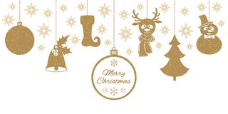 Gold Christmas pendants a bell with holly, ball, fir-tree, a deer in scarf. Gold Christmas pendants a bell with holly, ball, fir-tree, a deer in scarf, snowman Royalty Free Stock Images