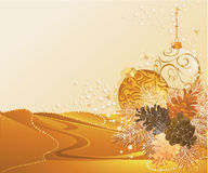 Gold christmas with pine cones Royalty Free Stock Photos