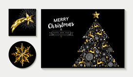 Gold christmas pine tree card design template set Royalty Free Stock Image
