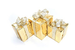 Gold Christmas Present Royalty Free Stock Photo