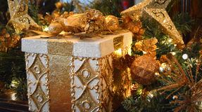 Gold Christmas Present stock photography